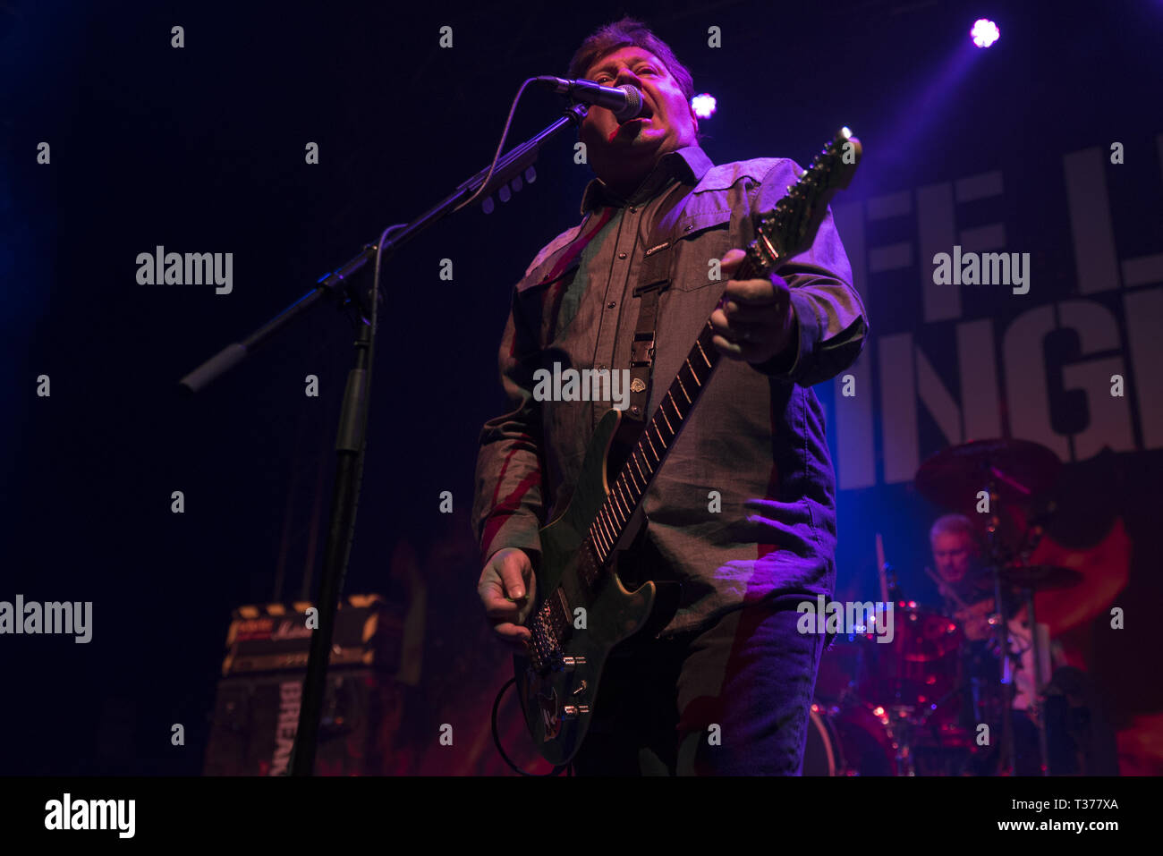 Belfast punk rock band Stiff Little Fingers performing at the O2 Academy in Leeds on the opening night of The Ignition Tour 2019  Featuring: Jake Burns, Stiff Little Fingers Where: Leeds, United Kingdom When: 06 Mar 2019 Credit: Graham Finney/WENN Stock Photo