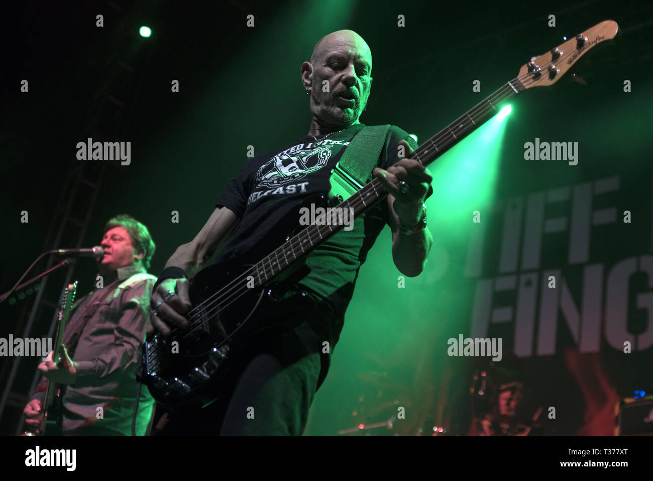 Belfast punk rock band Stiff Little Fingers performing at the O2 Academy in Leeds on the opening night of The Ignition Tour 2019  Featuring: Ali McMordie, Jake Burns, Stiff Little Fingers Where: Leeds, United Kingdom When: 06 Mar 2019 Credit: Graham Finney/WENN Stock Photo