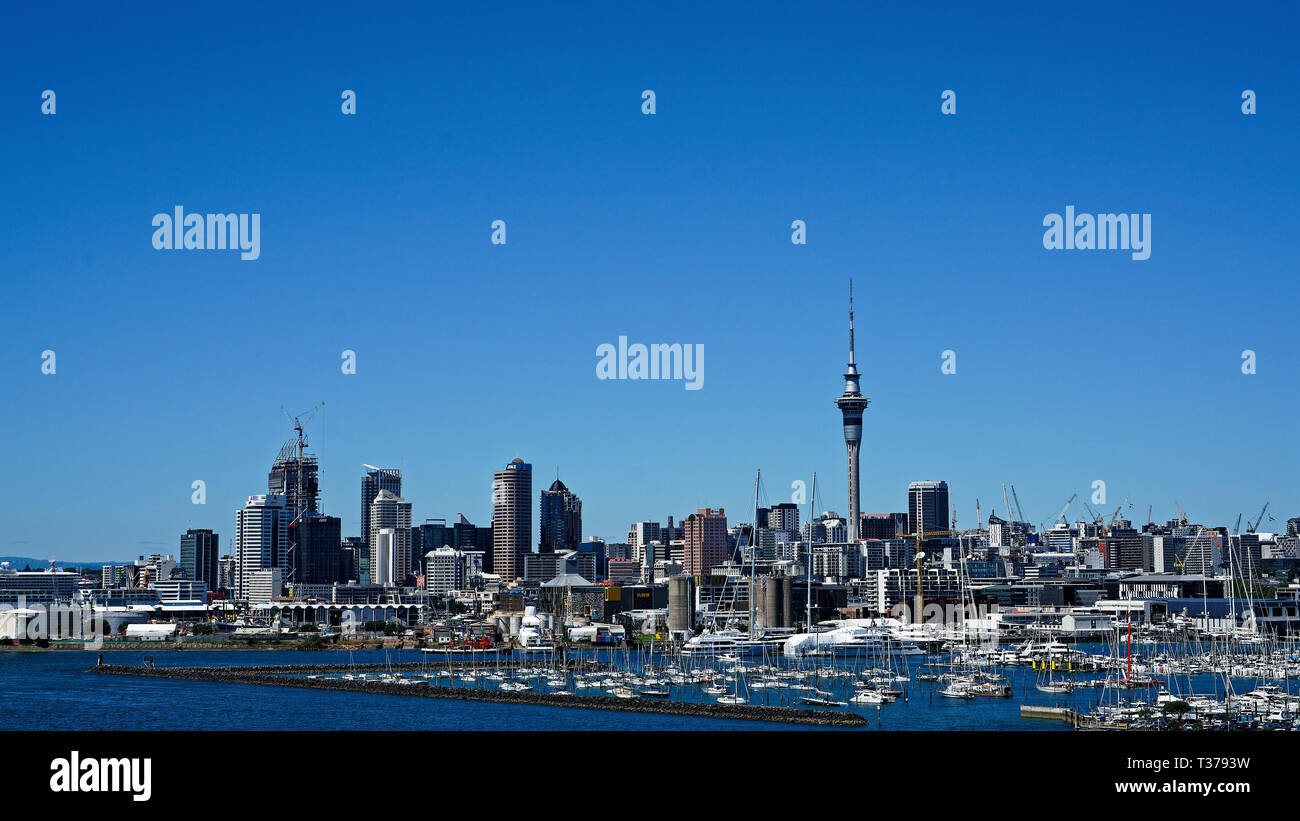 Auckland and harbour viewed from the Auckland Harbour Bridge, New Zealand. - Stock Image