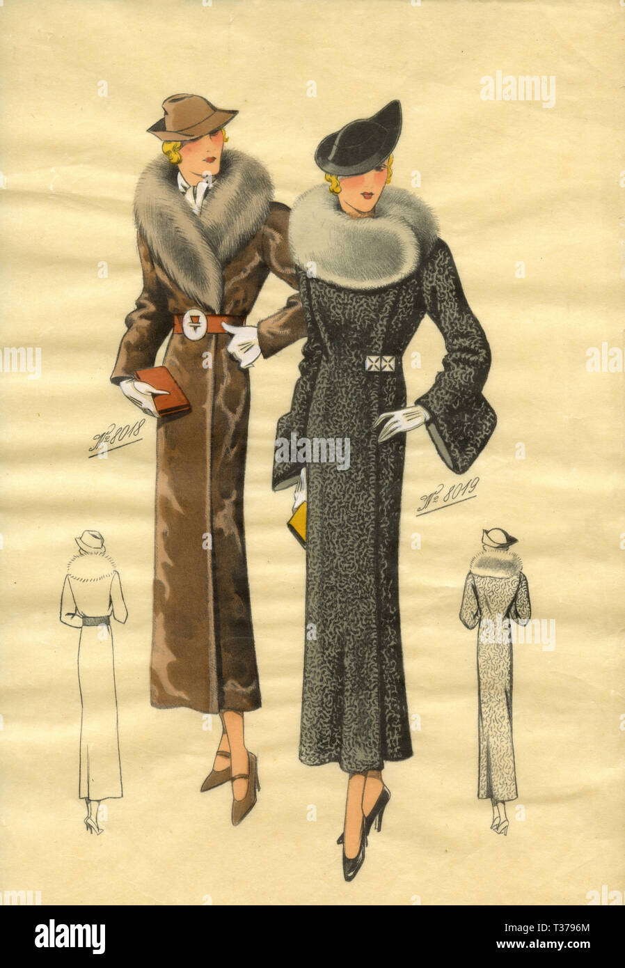 French vintage fashion sketch, Woman coats 1930s Stock Photo