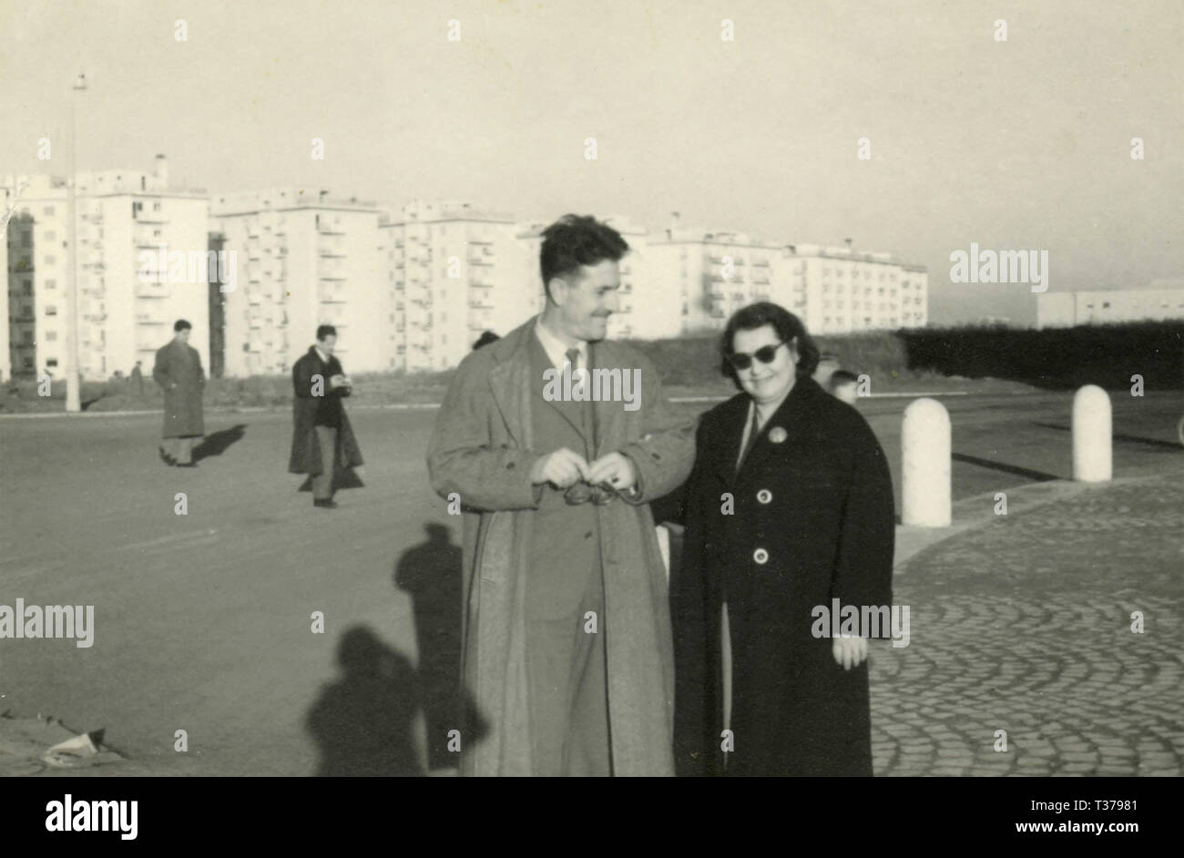 Mom and son at the new housing project at S. Giovanni Bosco, Rome, Italy, 1959 Stock Photo