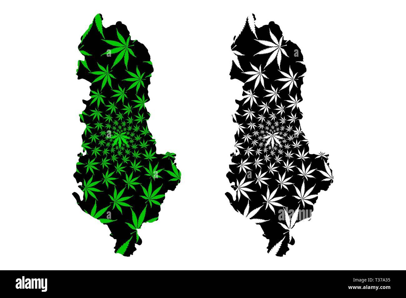 Albania - map is designed cannabis leaf green and black, Republic of Albania map made of marijuana (marihuana,THC) foliage, - Stock Vector