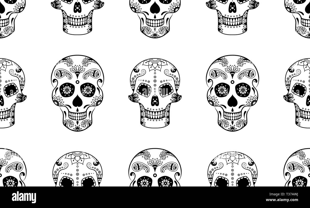 vector seamless pattern of black sugar skull with doodle floral pattern on white background coloring page book for mexican day of the dead dia de mu T37AWJ