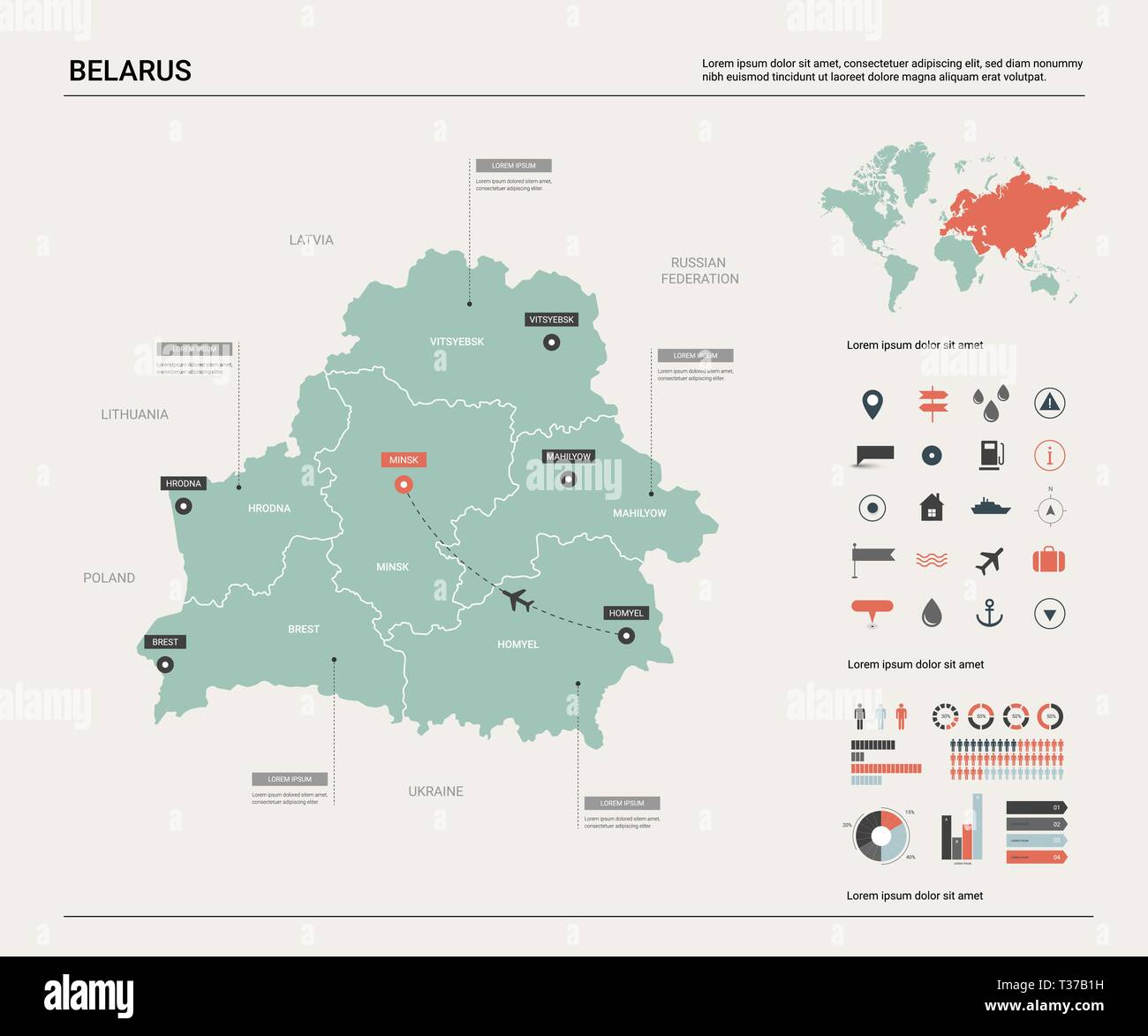 Picture of: Vector Map Of Belarus High Detailed Country Map With Division Cities And Capital Minsk Political Map World Map Infographic Elements Stock Vector Image Art Alamy