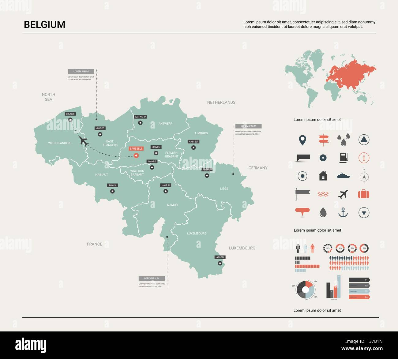 Vector map of Belgium . High detailed country map with division ...