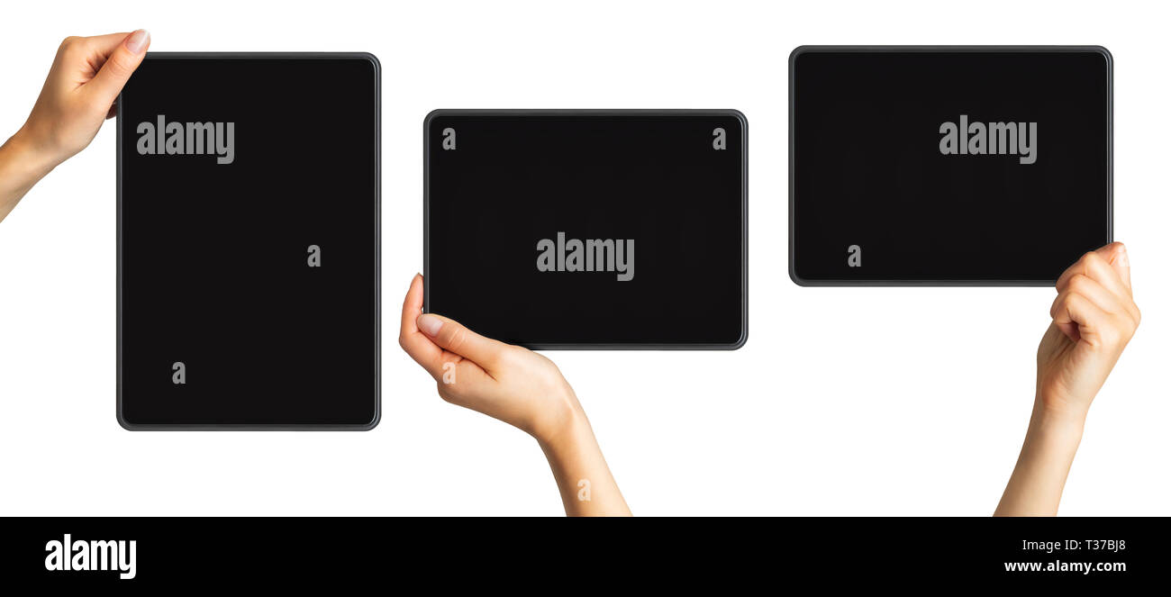Set of mockups of black tablets in women's hands, concept of mobile shopping. Isolated with clipping path. Stock Photo