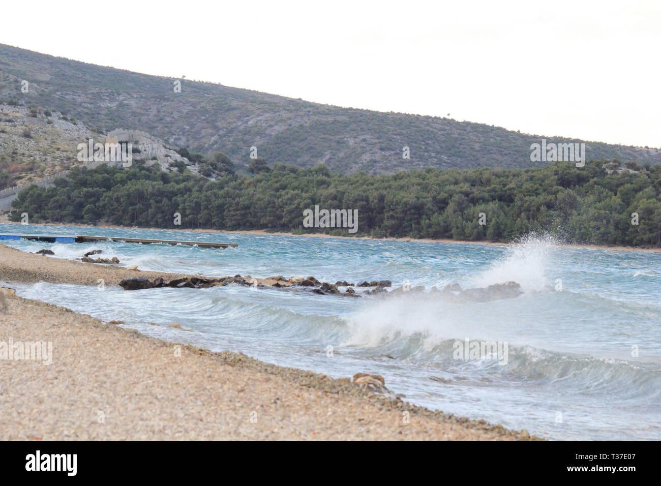breathtaking moment at the croatian coast of the mediterran sea - Stock Image