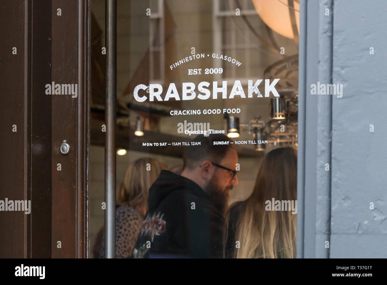 Crabshakk seafood and fish restaurant, Argyle Street, Finnieston, Glasgow, Scotland, UK Stock Photo