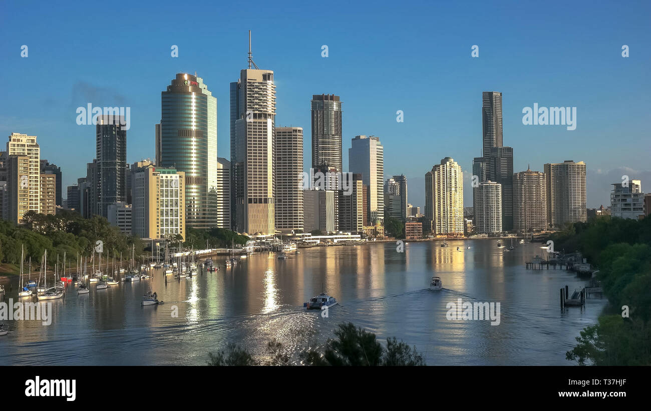 morning view of the city of brisbane from kangaroo point - Stock Image