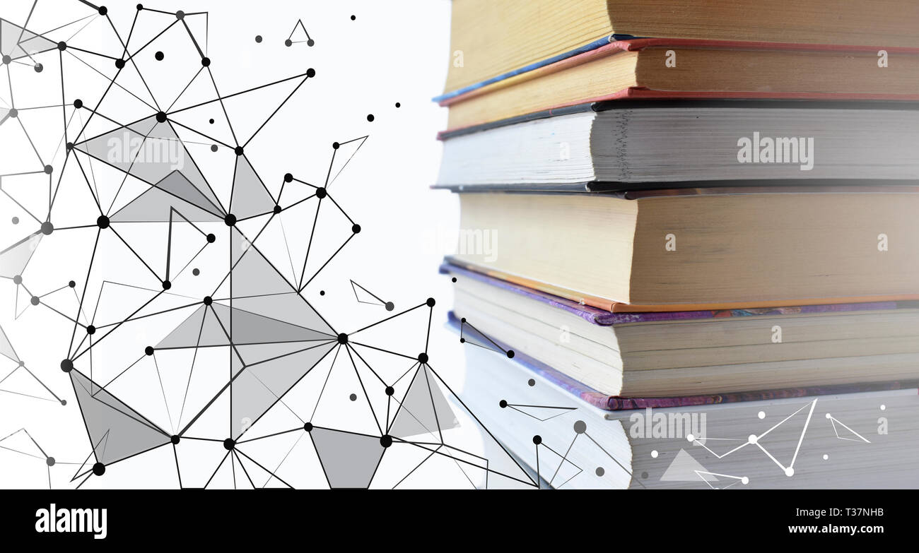 Stack of multicolored books. Old textbooks stacked on each other. Online education technology concept. E-learning training skill courses. Geometric - Stock Image