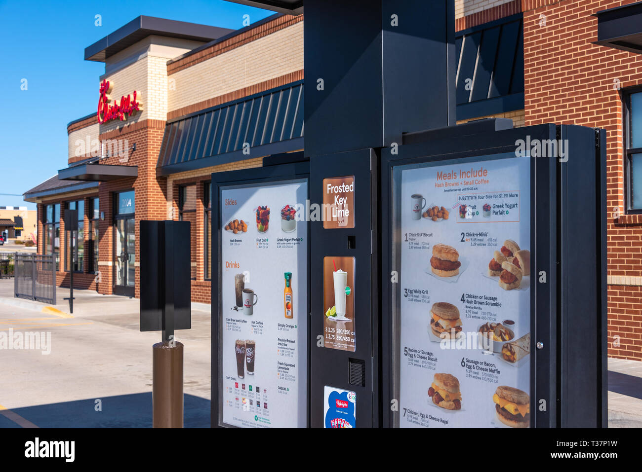 Drive-thru menu boards at Chick-fil-A in Muskogee, Oklahoma. (USA) Stock Photo