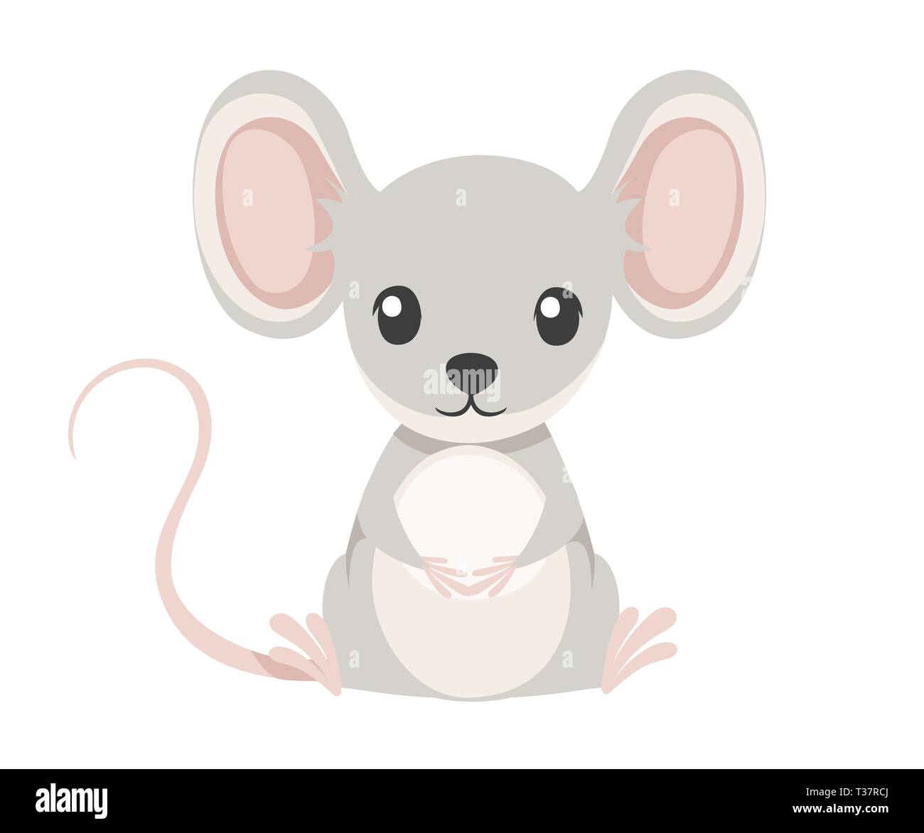 e578ee0b56221 Cute little gray mouse sit on floor. Cartoon animal character design. Flat vector  illustration
