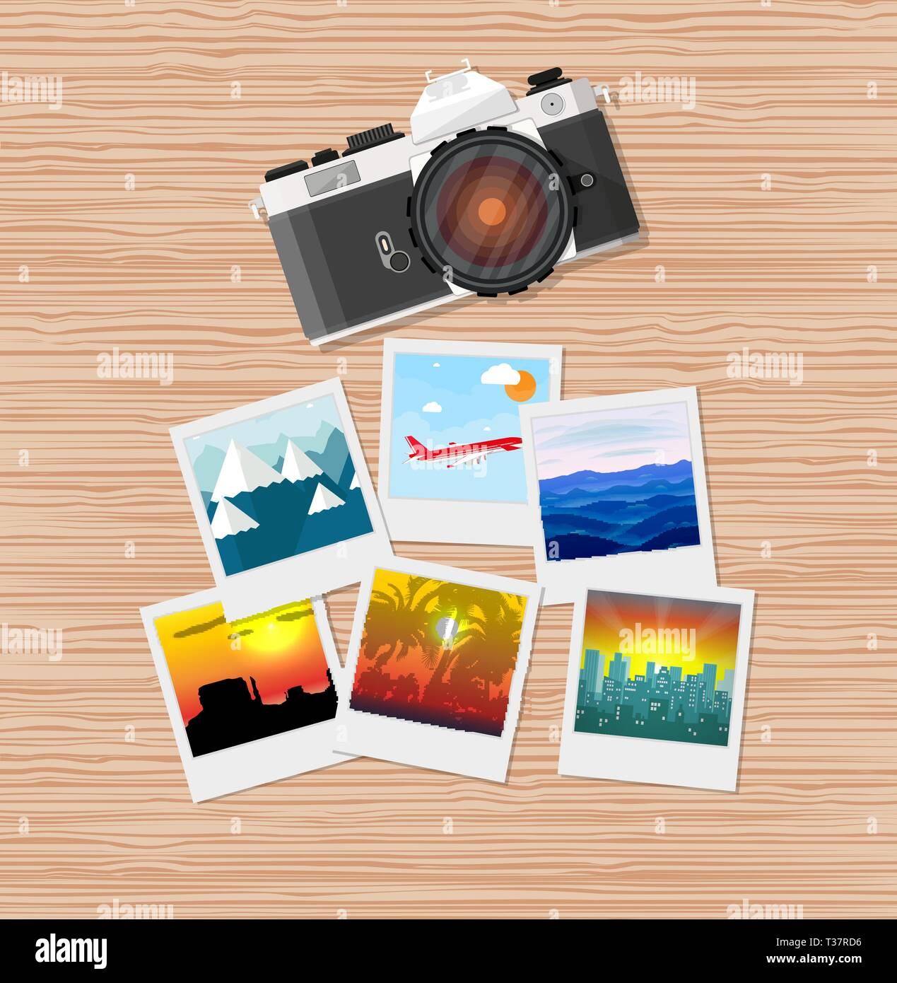 Wooden travellers desk with photos and camera. travel and vacation concept. vector illustration in flat design - Stock Vector