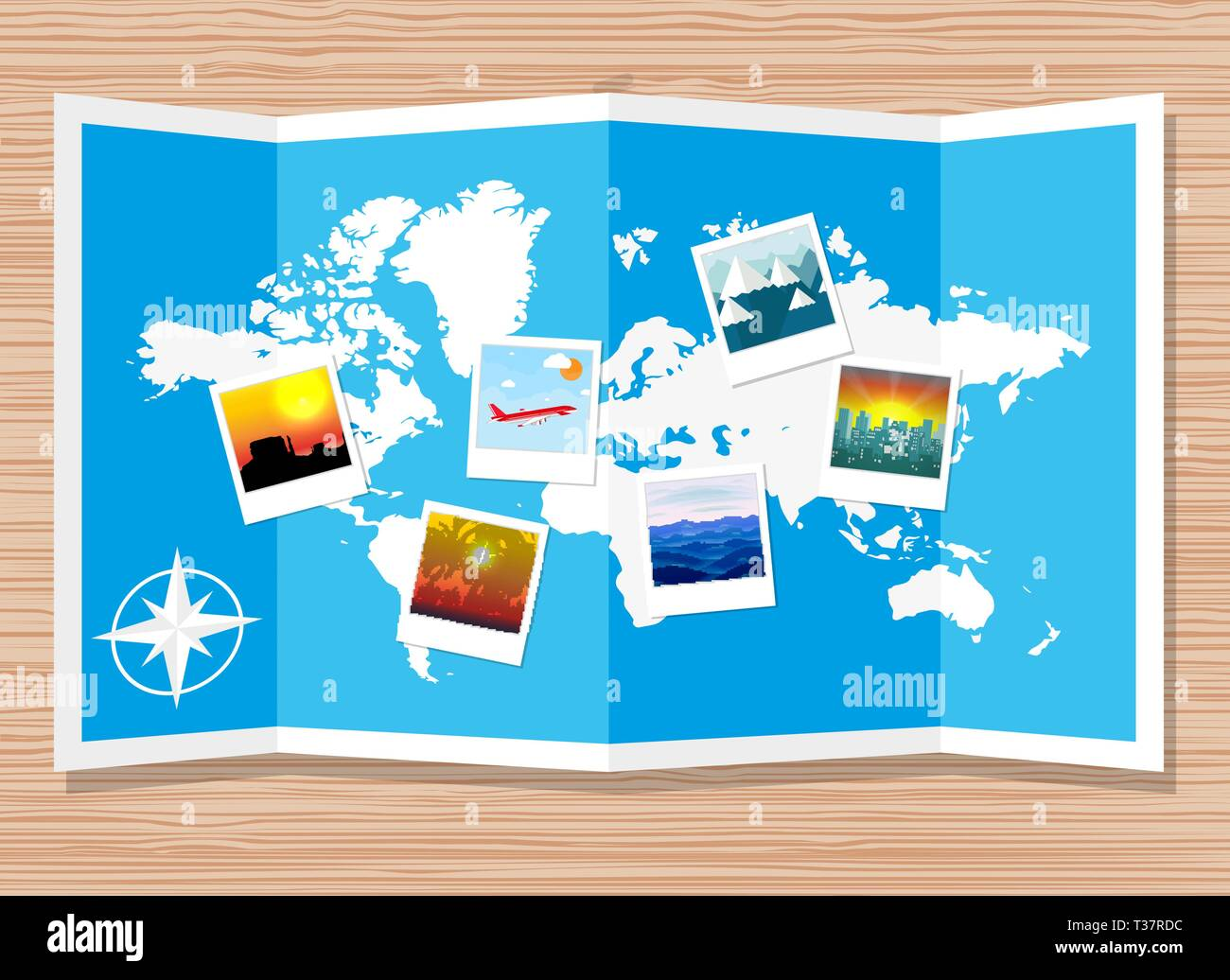 Wooden travellers desk with folded paper map of world and photos. travel and vacation concept. vector illustration in flat design - Stock Vector