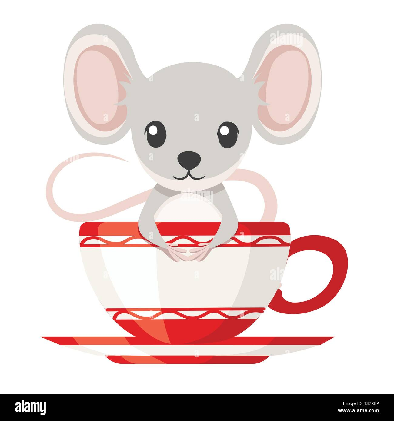 606f99d68d4de Cute little gray mouse is sitting in a mug. Cartoon animal character  design. Flat