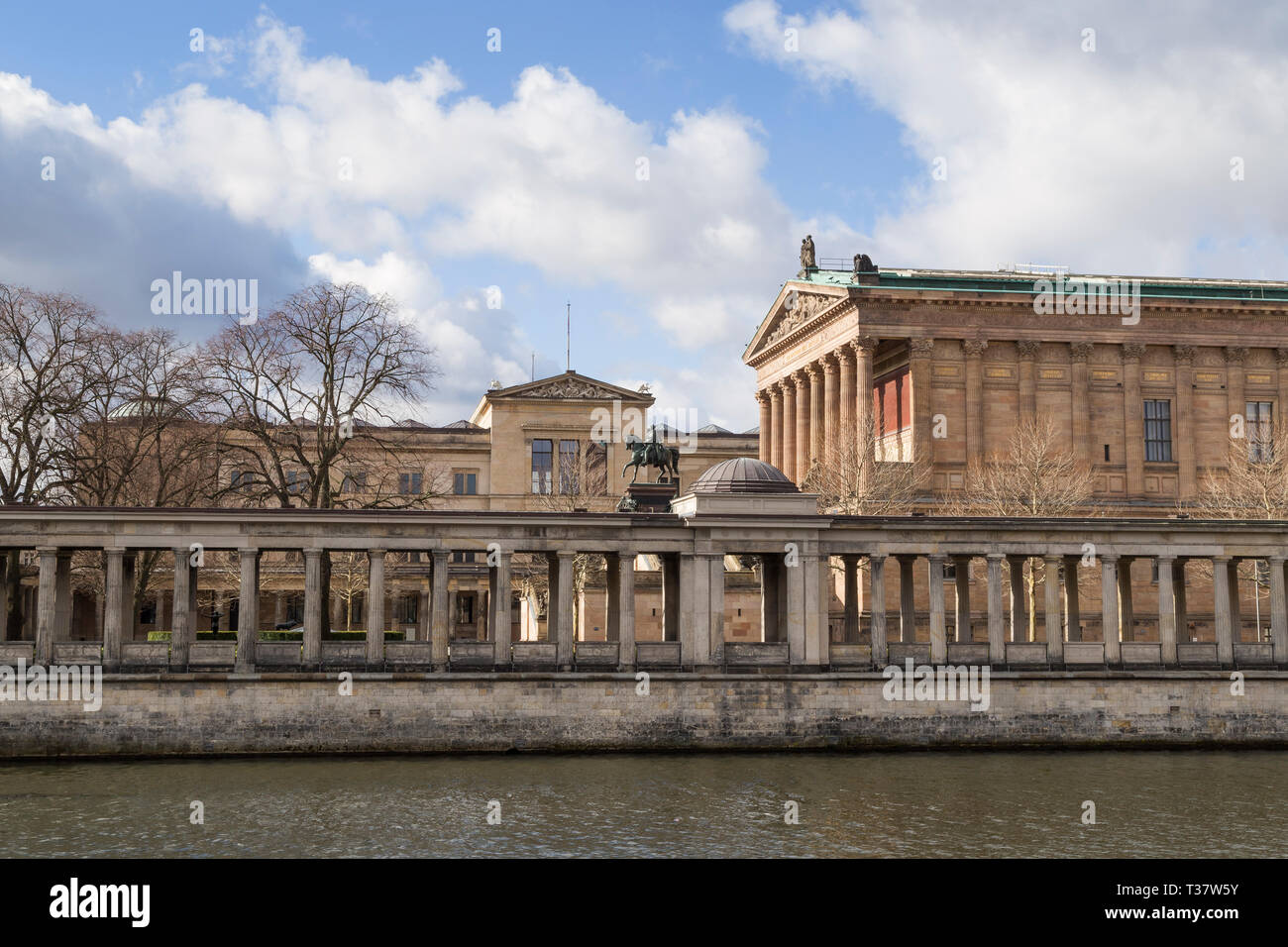 Alte Nationalgalerie and Neues Museum by the Spree River in Berlin, Germany, on a sunny day at early spring. Stock Photo