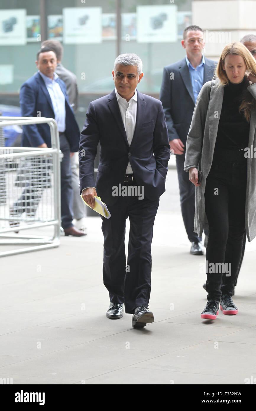 London, UK. 7th April 2019. Sadiq Khan arrives at the BBC studios Credit: WFPA/Alamy Live News - Stock Image