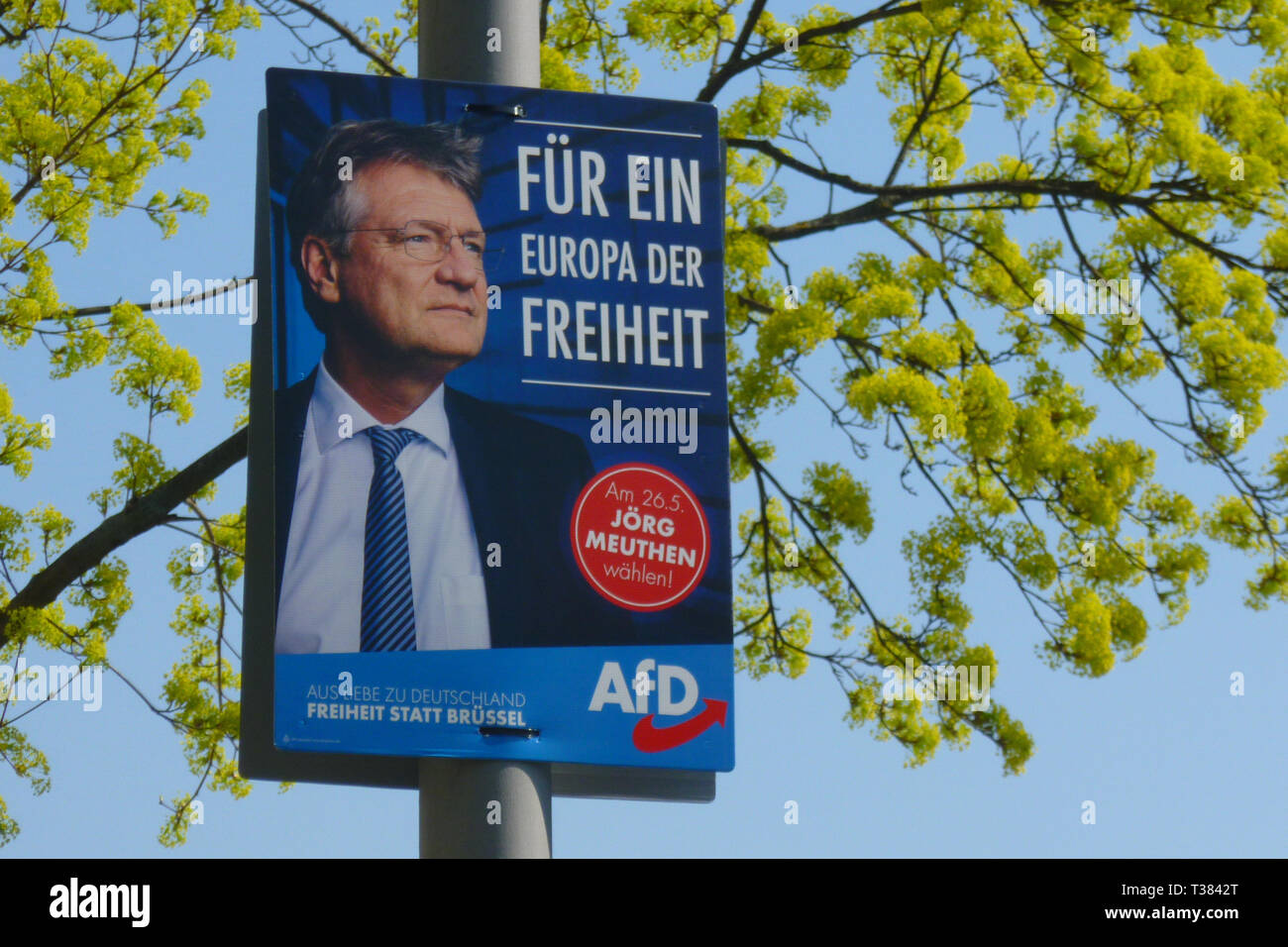 Berlin,  Germany. 7th Apr, 2019. An election poster of Joerg Meuthen, lead candidate for the Euro Parliament of the Alternative for Germany (German: Alternative für Deutschland, AfD), can be seen. From 23 to 26 May 2019, citizens of the European Union will be able to elect the European Parliament for the ninth time. In the Federal Republic of Germany, the election will take place on 26 May 2019. Credit: Jan Scheunert/ZUMA Wire/Alamy Live News - Stock Image