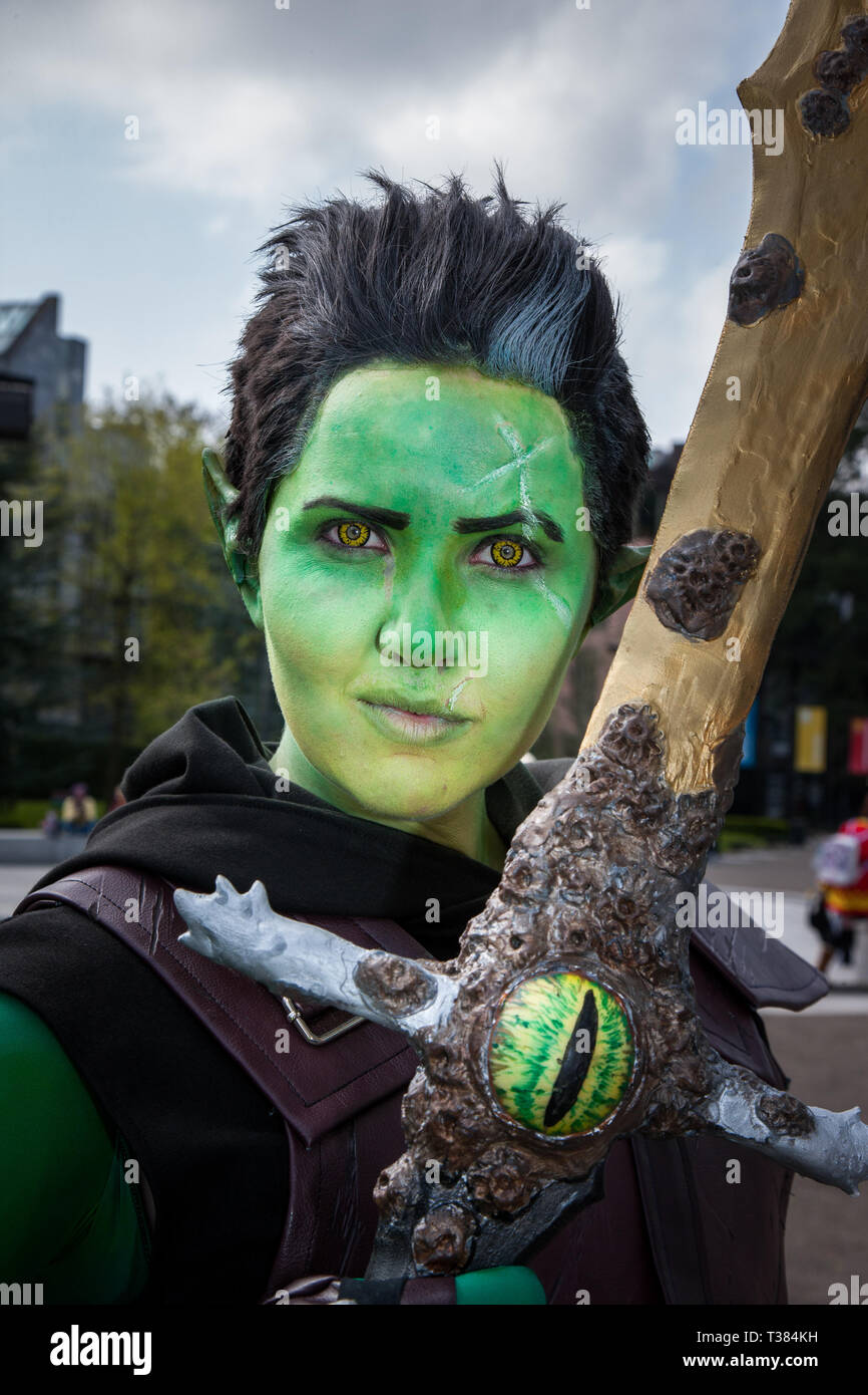 Cork City, Cork, Ireland. 07th April, 2019.  Emma Babington AKA Shadow Sionnach who attended the Kaizoku-Con, Anime, Gaming and Sci-Fi Convention  that was held at University College Cork, Ireland- Picture David Creedon / Anzenberger Credit: David Creedon/Alamy Live News Stock Photo
