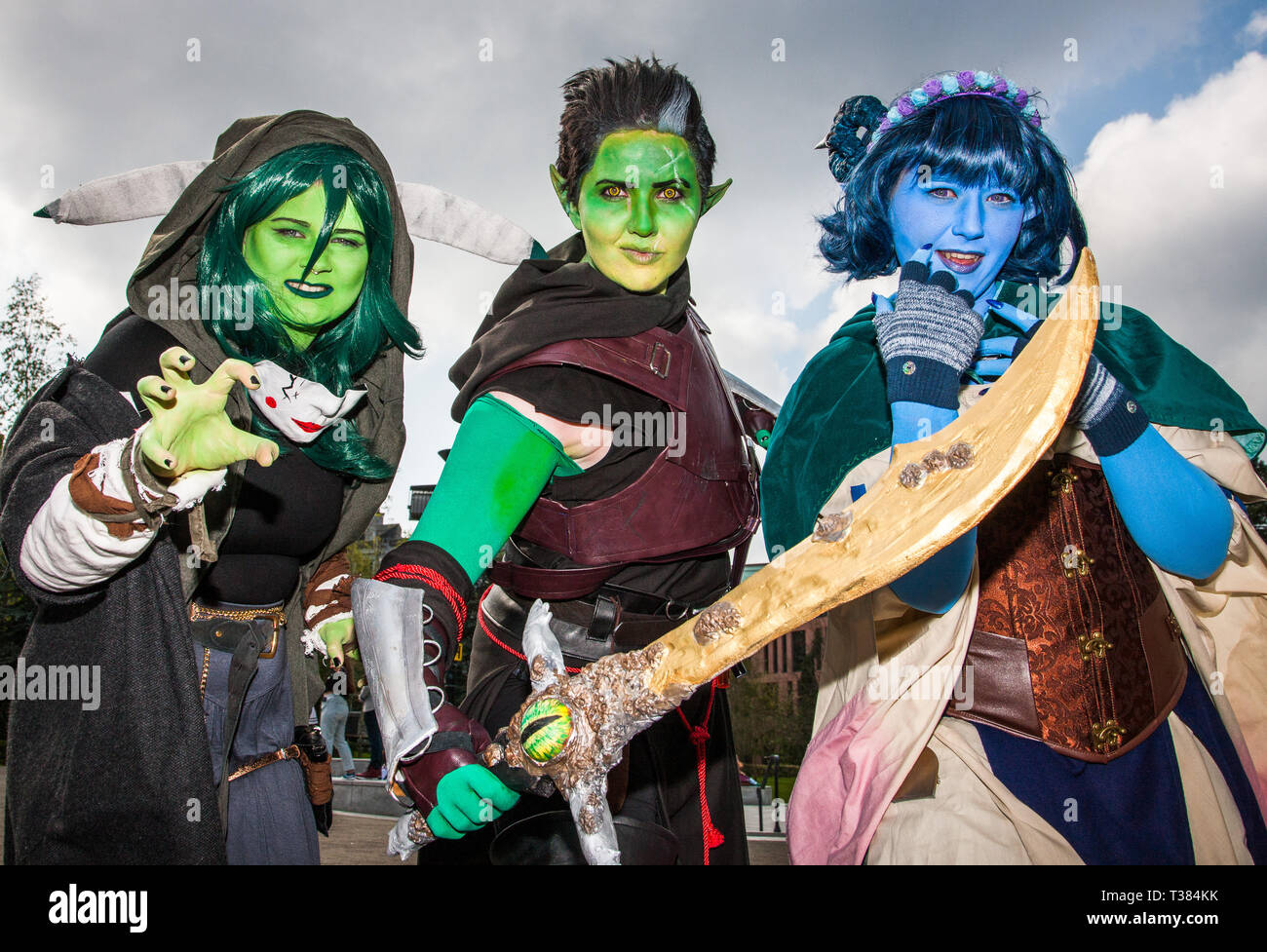 Cork City, Cork, Ireland. 07th April, 2019.  Matylda Gruszewska AKA Hakkcosplay, Emma Babington AKA Shadow Sionnach and Chloe Leahy AKA Coschloo who attended the Kaizoku-Con, Anime, Gaming and Sci-Fi Convention  that was held at University College Cork, Ireland. Picture David Creedon / Anzenberger Credit: David Creedon/Alamy Live News - Stock Image