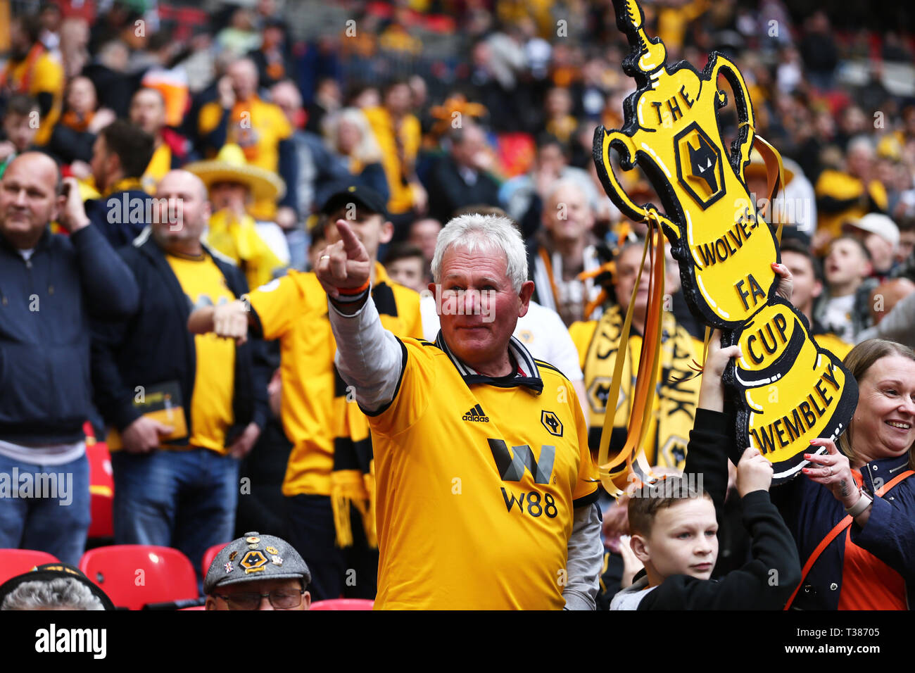 London, UK. 7th Apr, 2019. Wolves fans during the FA Cup Semi Final match between Watford and Wolverhampton Wanderers at Wembley Stadium, London on Sunday 7th April 2019. (Credit: Leila Coker | MI News) Editorial use only, license required for commercial use. No use in betting, games or a single club/league/player publications. Credit: MI News & Sport /Alamy Live News Stock Photo