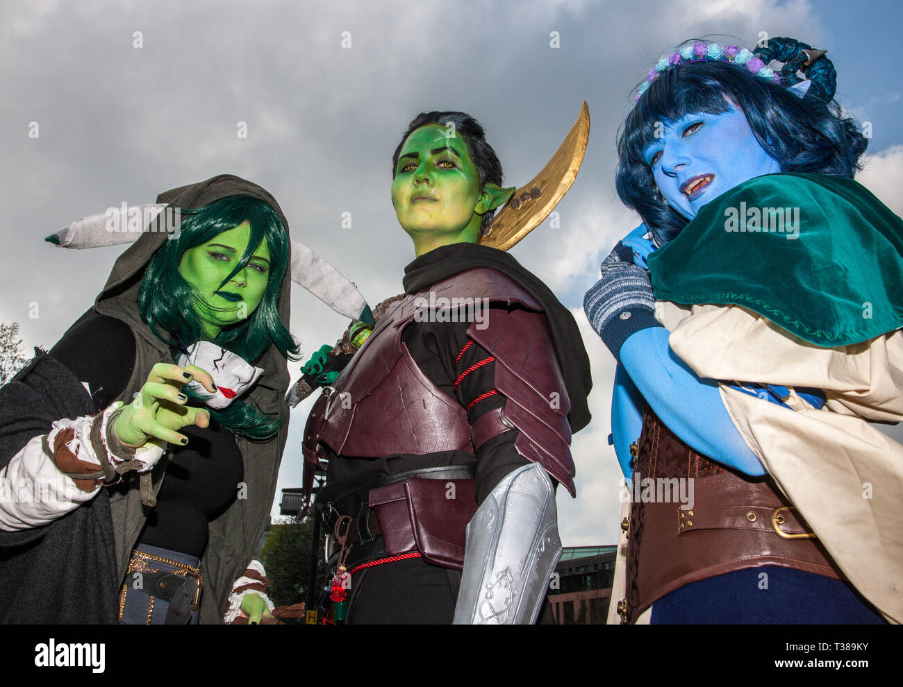 Cork City, Cork, Ireland. 07th April, 2019.  Matylda Gruszewska AKA Hakkcosplay, Emma Babington AKA Shadow Sionnach and Chloe Leahy AKA Coschloo who attended the Kaizoku-Con, Anime, Gaming and Sci-Fi Convention over the weekend  at University College Cork, Ireland Credit: David Creedon/Alamy Live News - Stock Image