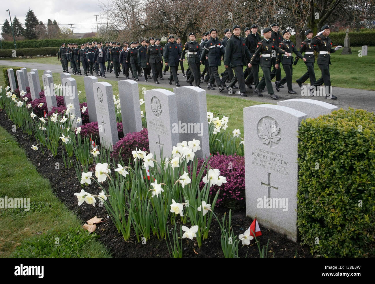 Vancouver, Canada  7th Apr, 2019  Army cadets march to