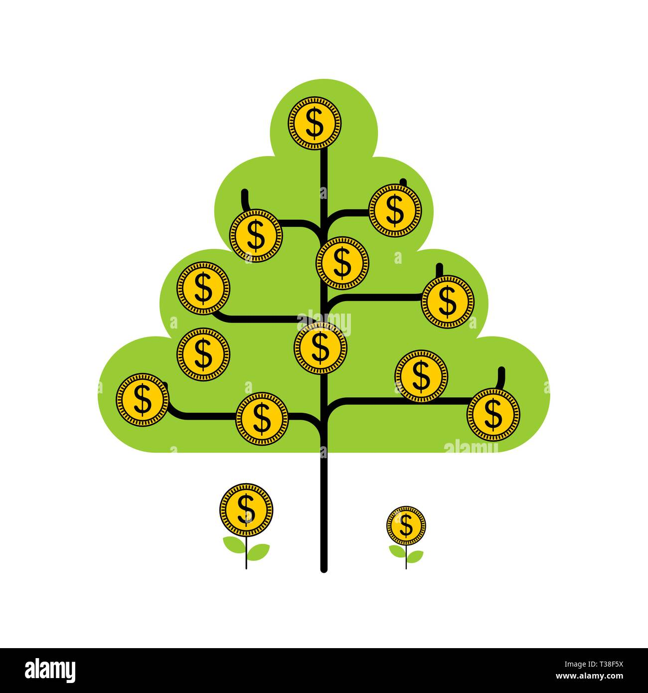 Money tree isolated. Dollar sprout. Grow wealth   - Stock Image