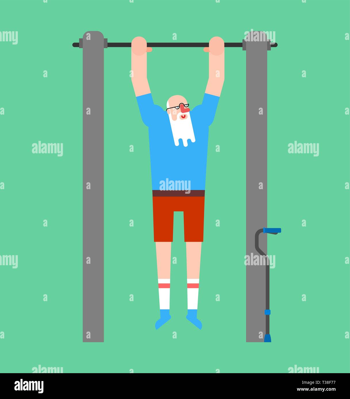 Grandfather on horizontal bar. Pull up granddad street workout. Old man Sport. Fitness for seniors - Stock Vector