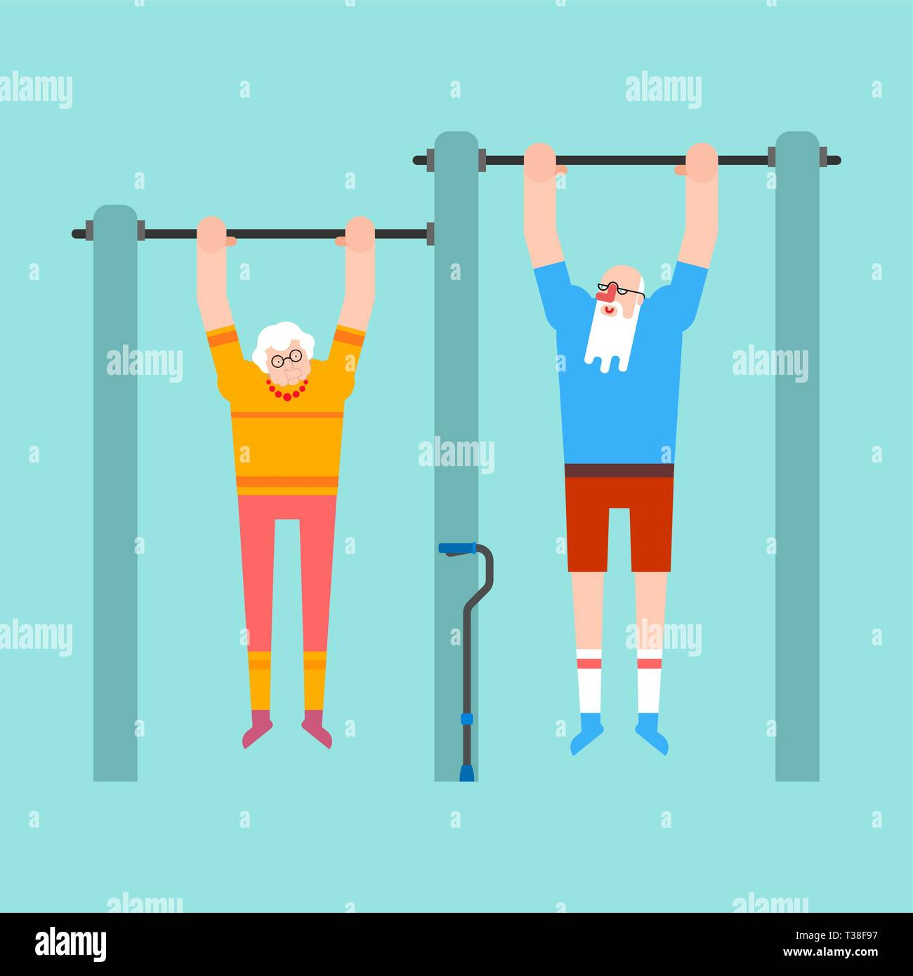 Grandparents on horizontal bar. Pull up Grandmother and grandfather street workout. Old man Sport. Fitness for seniors - Stock Vector
