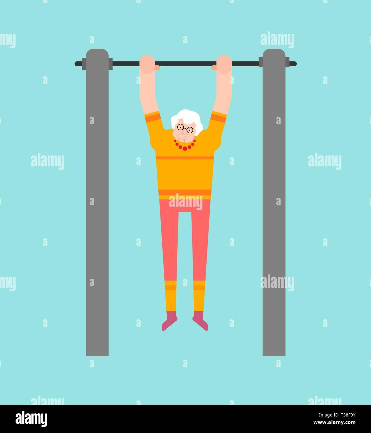 Grandmother on horizontal bar. Pull up grandma street workout. Old woman Sport. Fitness for seniors - Stock Vector