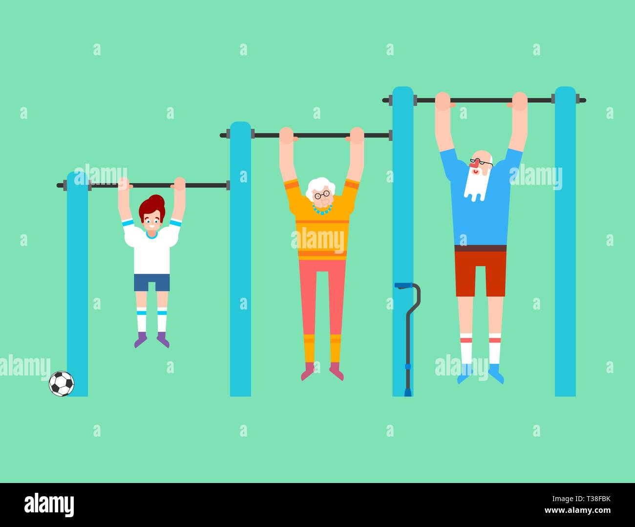 Grandparents and grandson on horizontal bar. Pull up Grandmother and grandfather street workout. Old man Sport. Fitness for seniors - Stock Vector