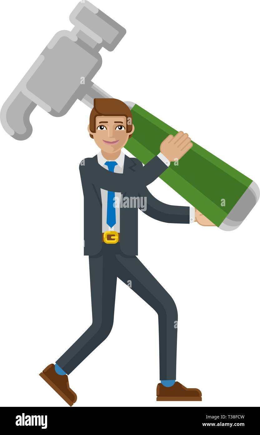 Business Man Holding Hammer Mascot Concept  - Stock Image