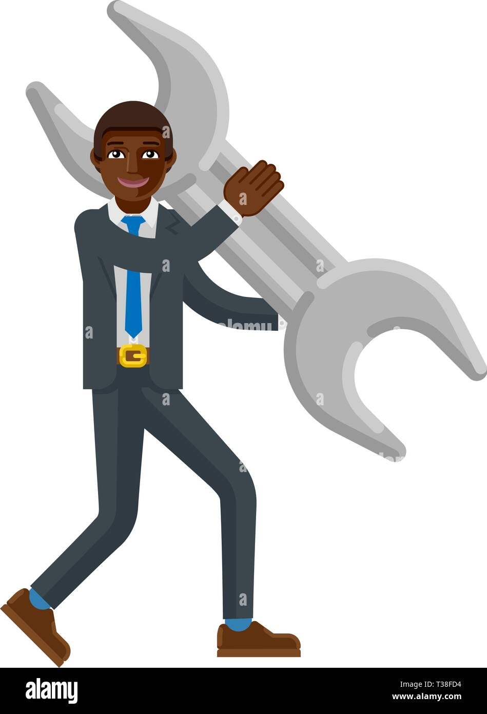 Black Business Man Holding Spanner Wrench Mascot - Stock Image