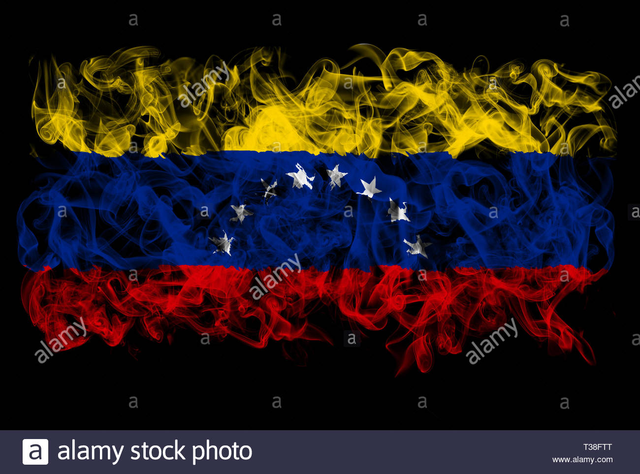 Smoking flag of Venezuela - Stock Image