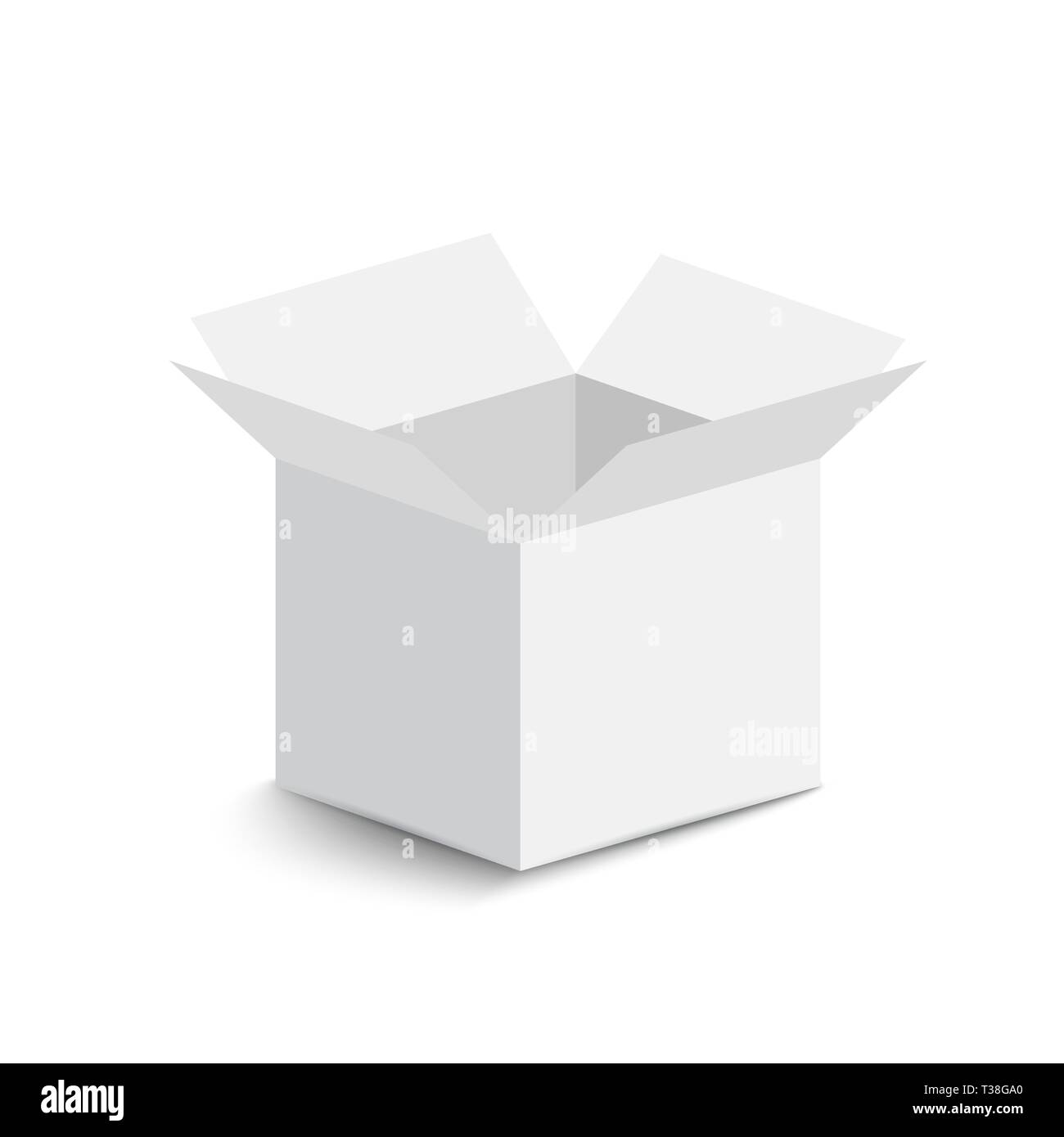 white open box on white background. open box with shadow. vector illustration - Stock Image