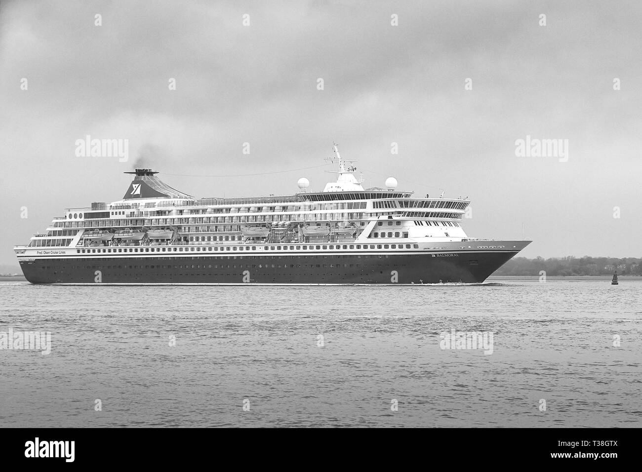 Black and White Photo Of The FRED OLSEN CRUISE LINES, Cruise Ship, BALMORAL, Underway, Departing The Port Of Southampton, UK. 22 March 2019. - Stock Image