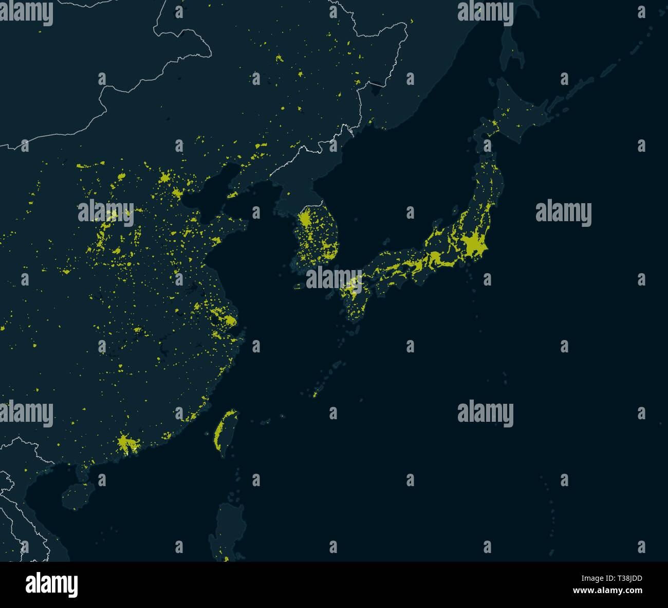 Image of: World Map Planisphere With Prominent Urban Areas Night View Of The Earth Asia Satellite View Of The Cities Illuminated In The Night East Asia Stock Vector Image Art Alamy