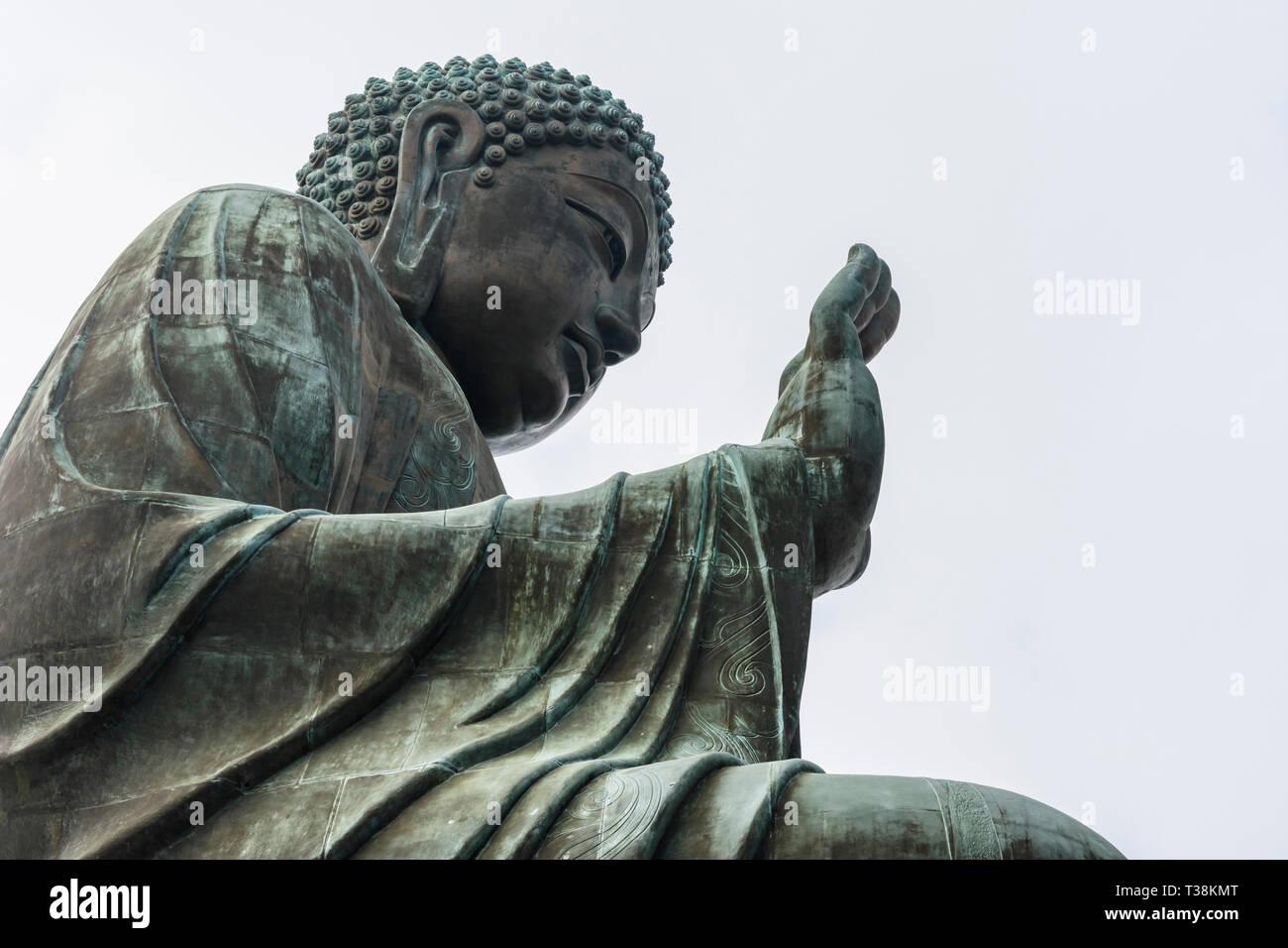 Large bronze Tian Tan Buddha, Lantau Island, Hong Kong - Stock Image