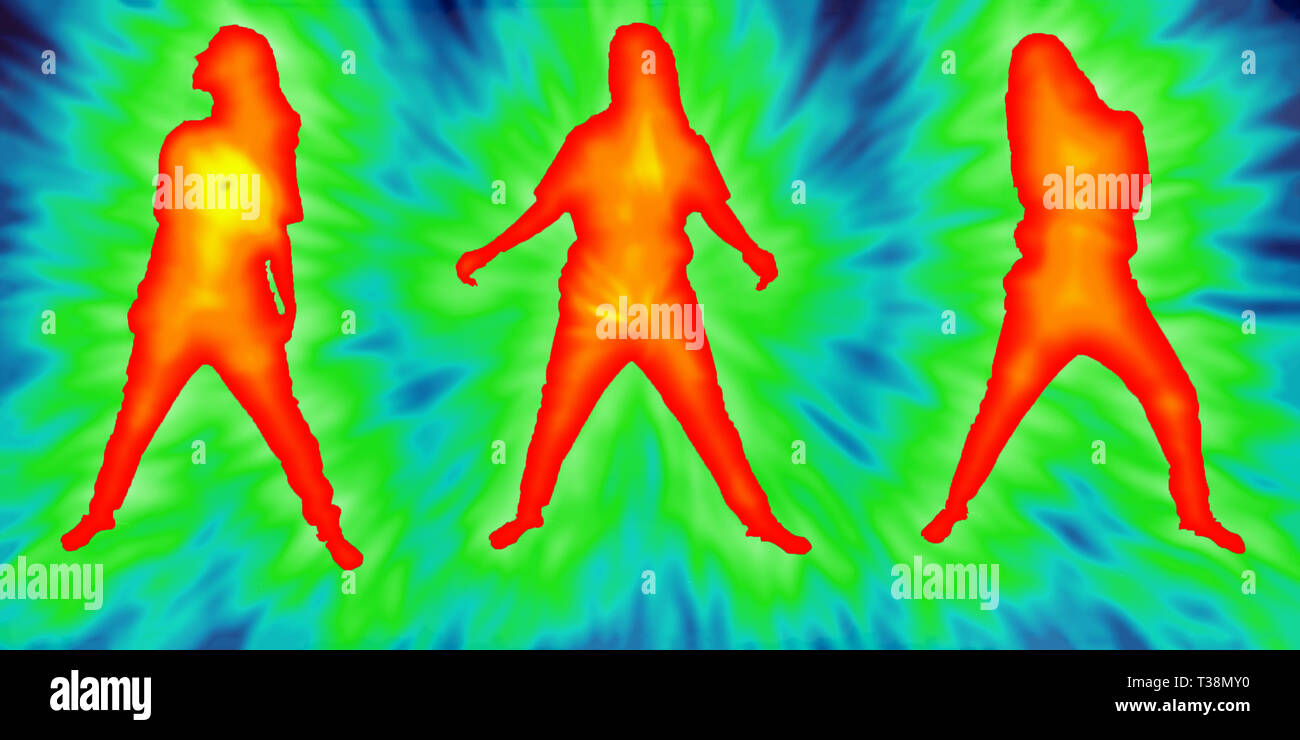Silhouettes of three girls in different positions on an abstract background with effect that simulates body temperature by colors - Stock Image