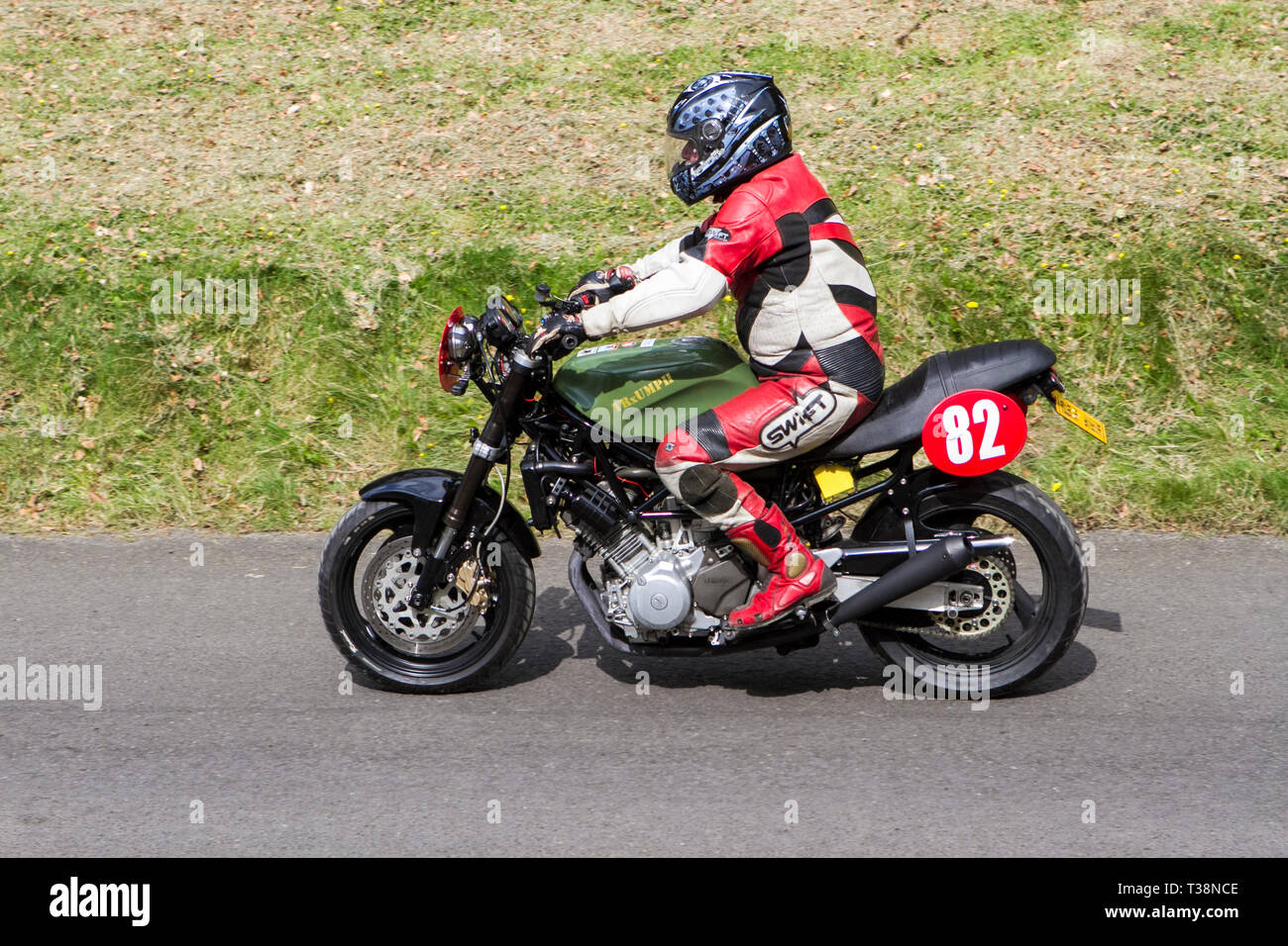 Chorley, Lancashire, UK. April, 2019. Hoghton Tower 43rd Motorcycle Sprint event. Rider - Stock Image