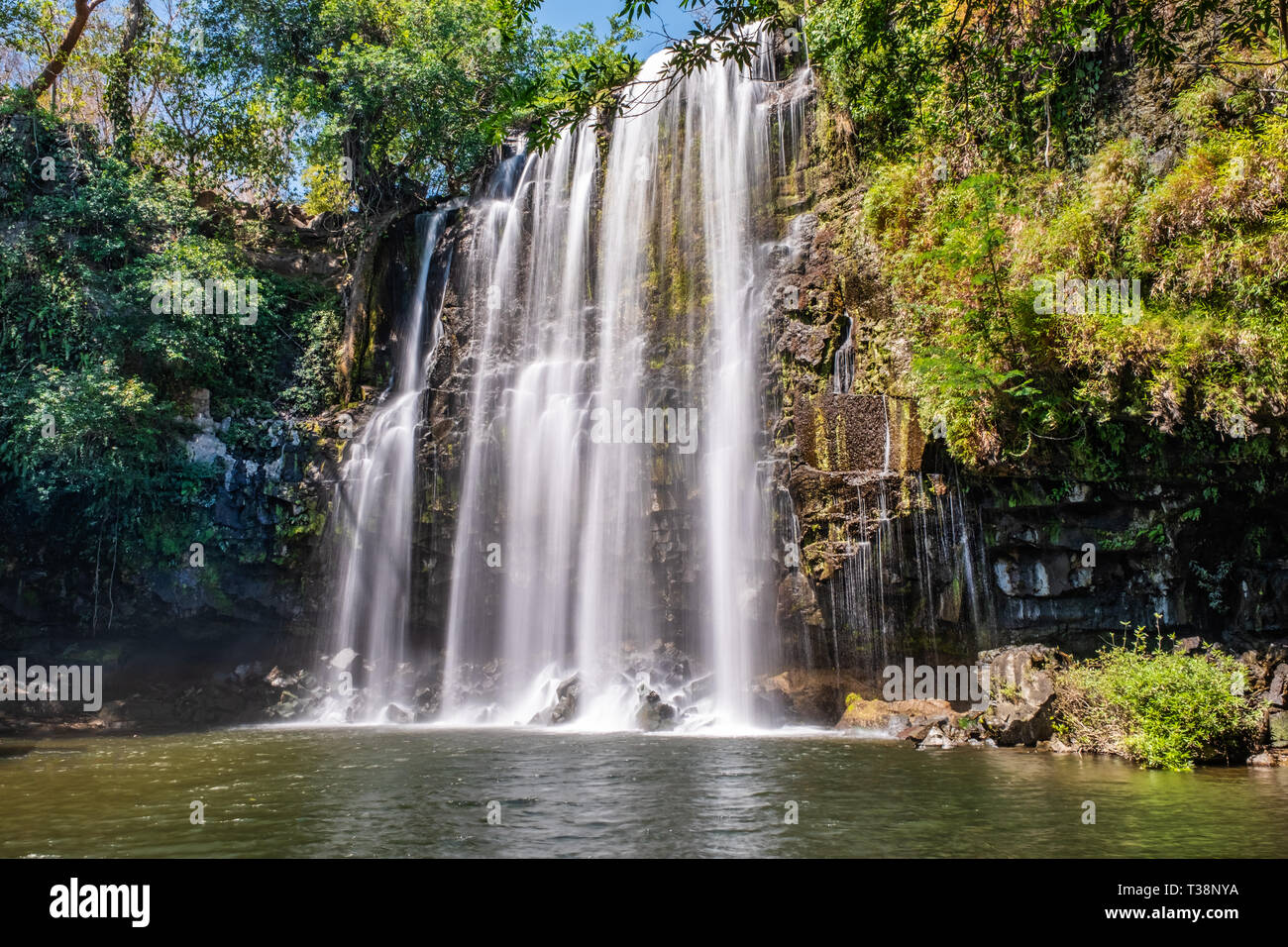 A wide ribbon of streaming water falls 12 metres over the rocks and moss of the Llanos de Cortez waterfall near Liberia, Costa Rica. - Stock Image