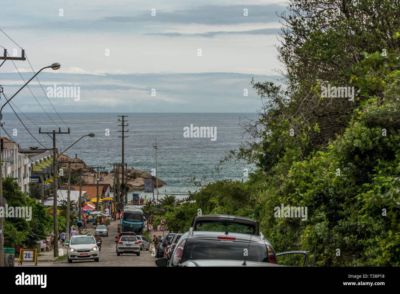 2019, January. Florianopolis, Brazil. Street access to Joaquina Beach. Stock Photo