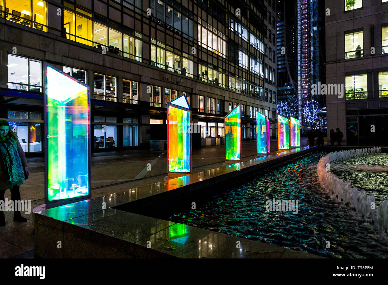 'Prismatica' by Raw Design at Canary Wharf Winter Lights Festival 2019, London, UK - Stock Image