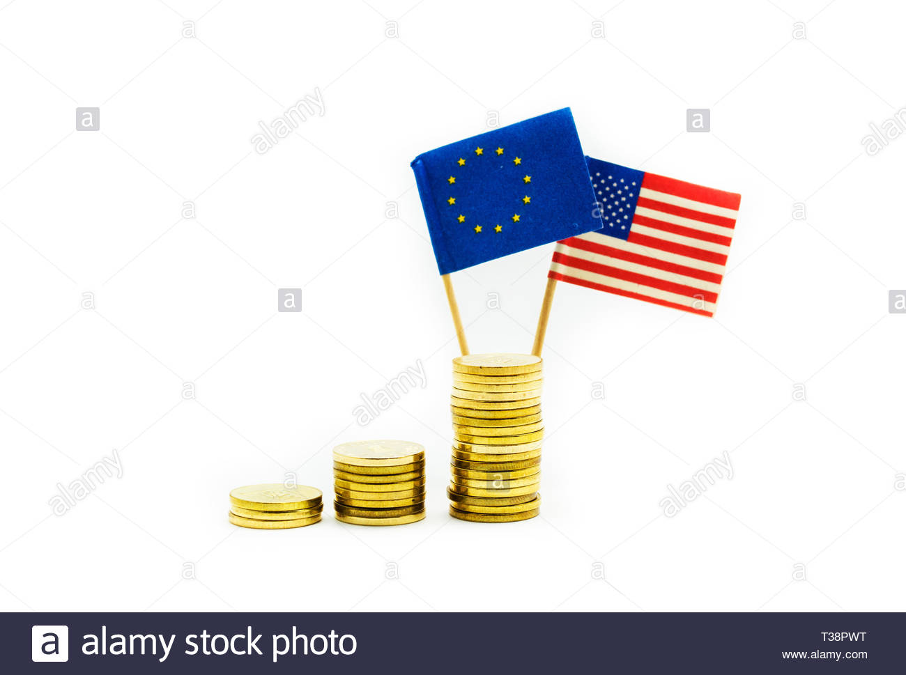 Flags of United States and European Union on a stack of ascending golden coins. Concept of wealth, partnership and economical relationships. - Stock Image