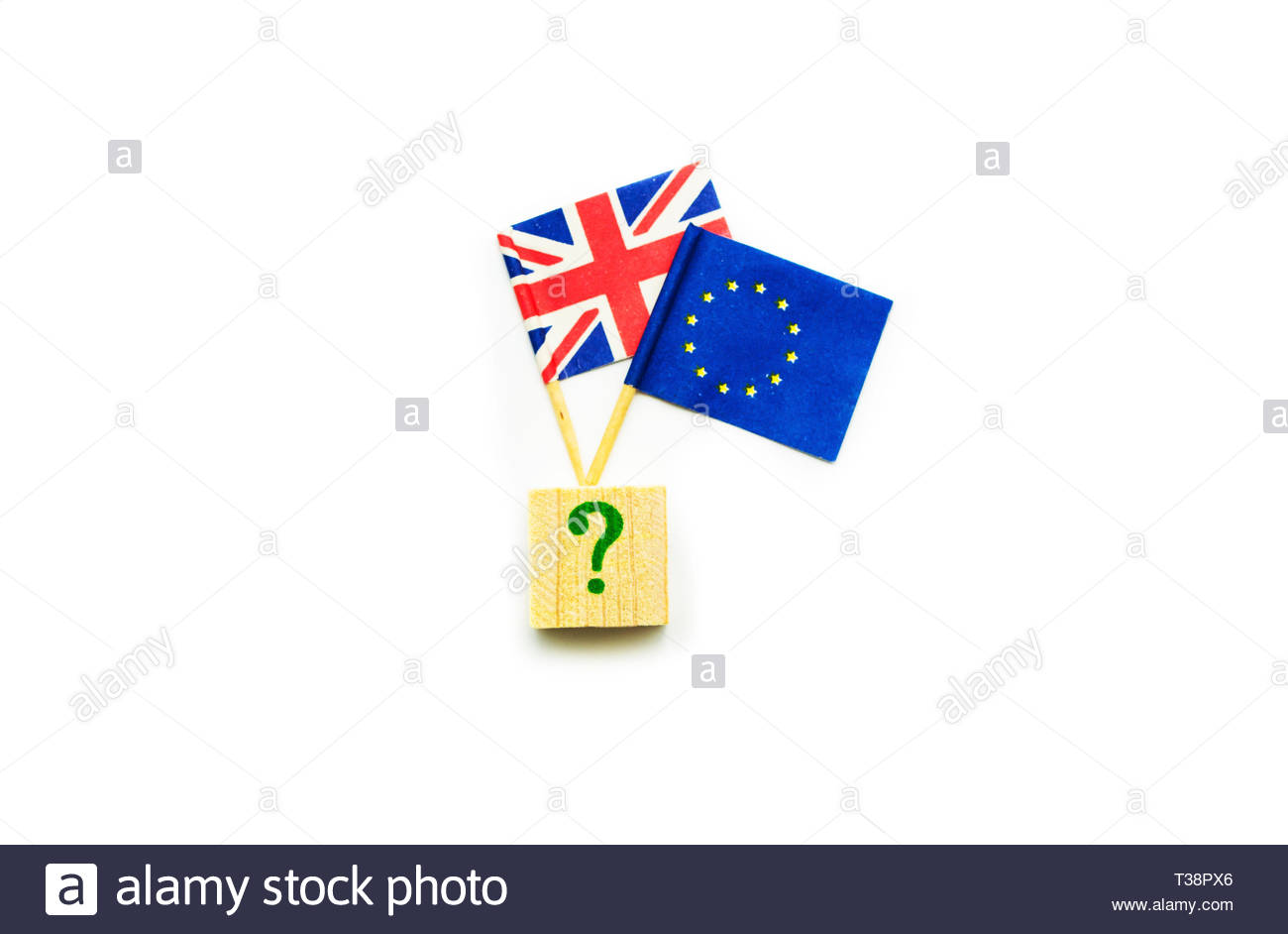 Brexit. Flag of United Kingdom and European Union under question mark. Concept of decision, difficulties, uncertainty. - Stock Image