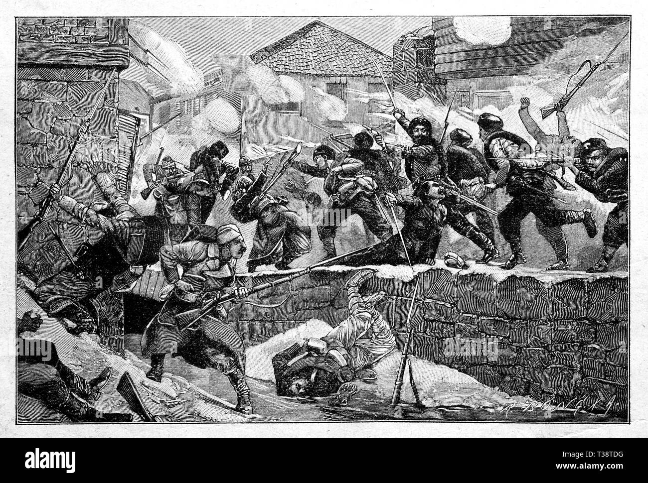 Bulgarians storming the Serbian city of Pirot, November 27, 1882. Digital improved reproduction from Illustrated overview of the life of mankind in the 19th century, 1901 edition, Marx publishing house, St. Petersburg. - Stock Image