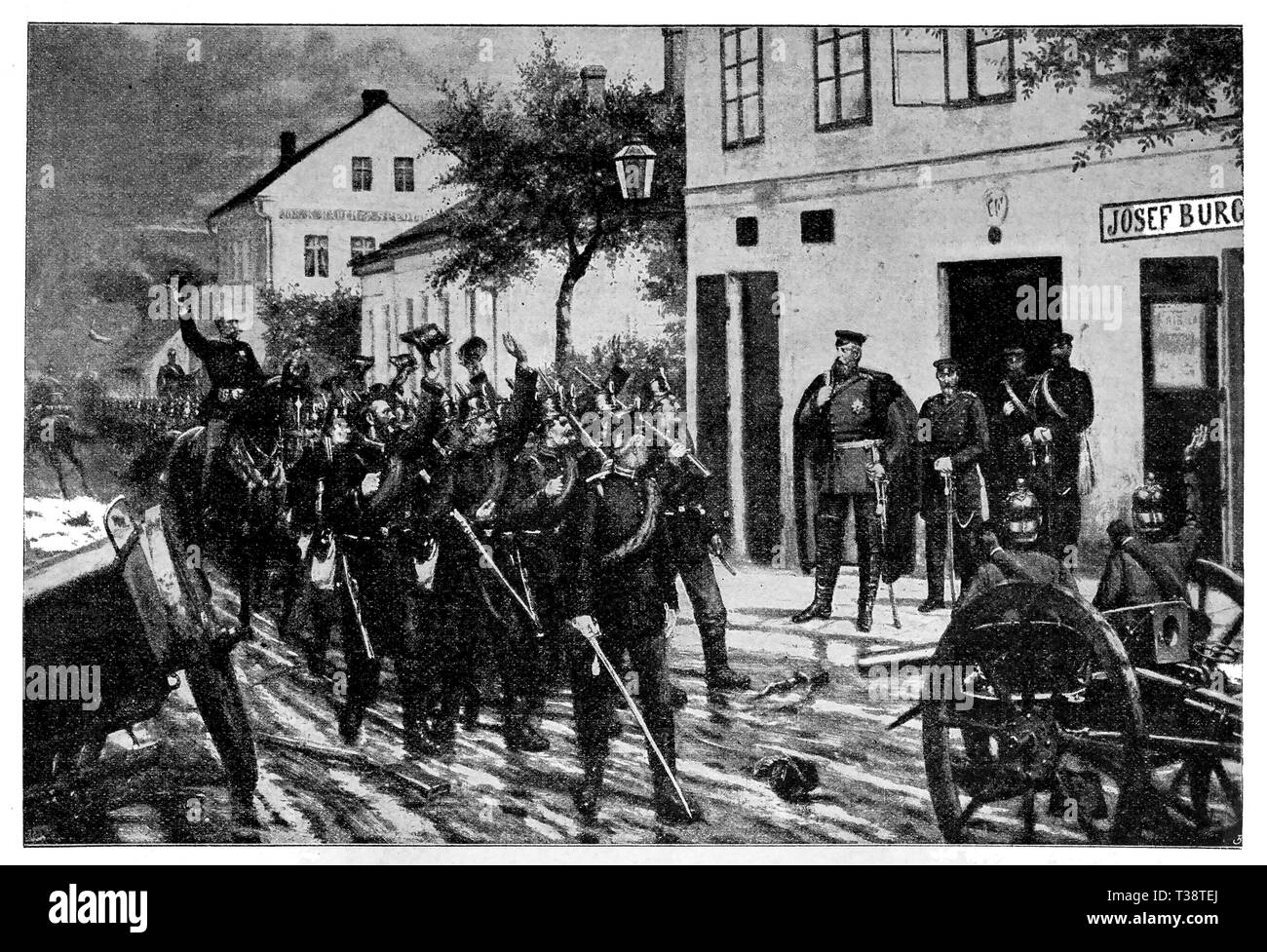 Crown Prince of Prussia Friedrich Wilhelm in the morning before the Battle of Königgrätz. Digital improved reproduction from Illustrated overview of the life of mankind in the 19th century, 1901 edition, Marx publishing house, St. Petersburg. - Stock Image
