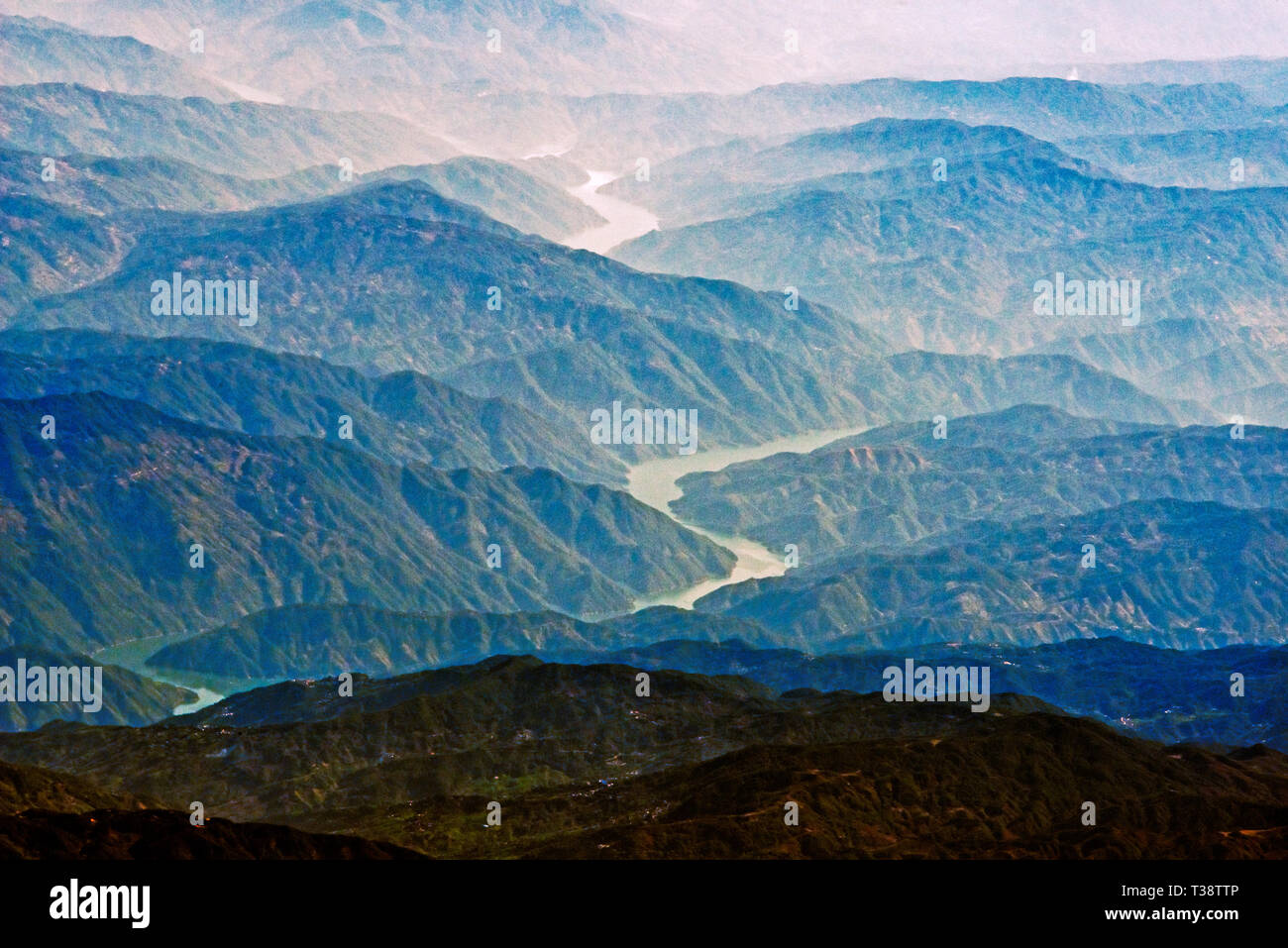 Aerial view of Irrawaddy River winding through the mountain, Myanmar - Stock Image