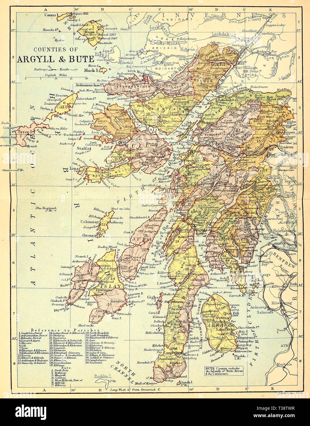 Map of the Counties of Argyll & Bute, Scotland, circa 1882 - Stock Image
